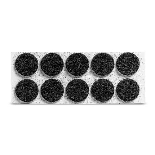 Viltglijder zelfklevend Ø 22mm - zwart, 10 stuks
