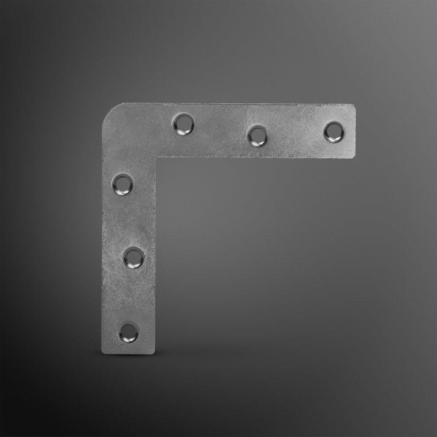 Raamhoek zink 120x17x1,2mm recht