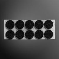 Viltglijder zelfklevend Ø 30mm - zwart, 6 stuks