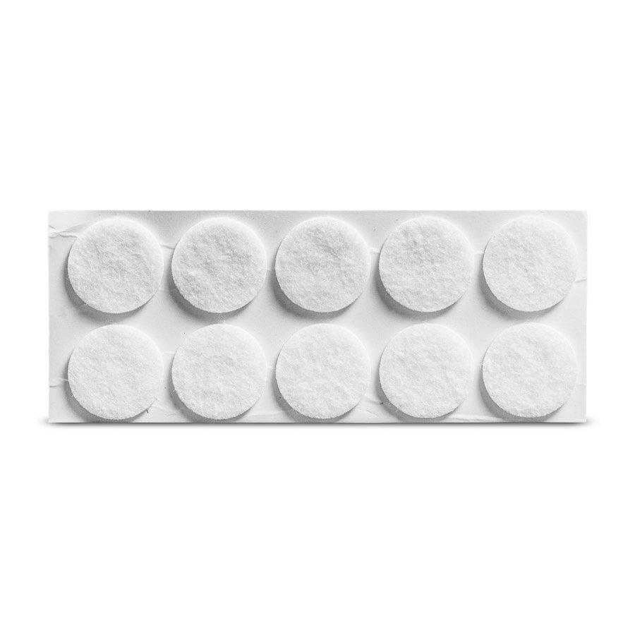 Viltglijder zelfklevend Ø 18mm - wit, 12 stuks