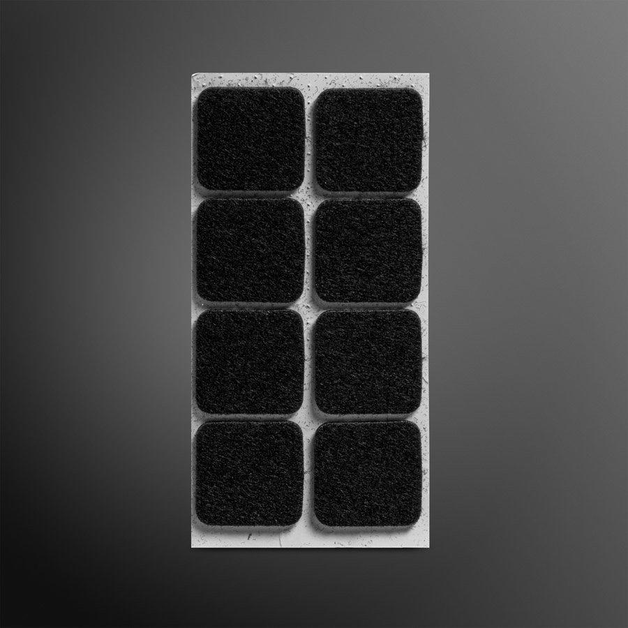 Viltglijder zelfklevend 30x30mm - zwart, 6 stuks