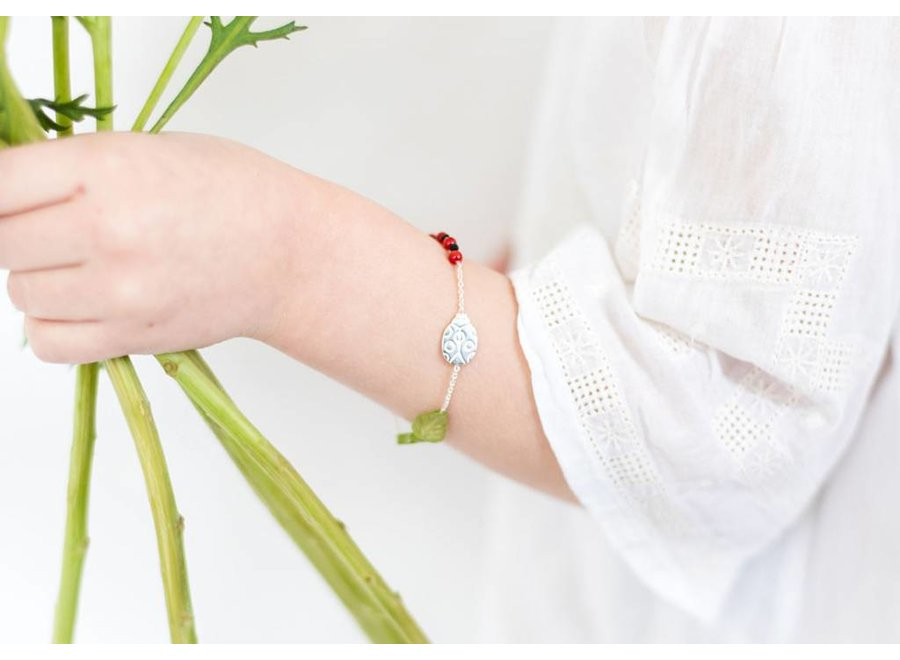 Dochter Armband 'You are my lovely little ladybug' Zilver
