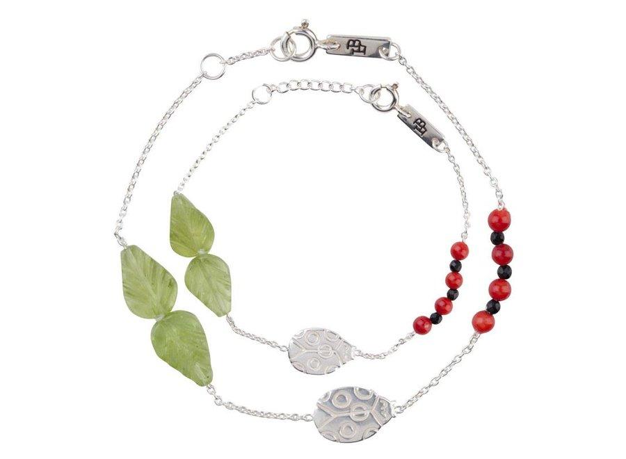 Moeder Armband 'You are my lovely little ladybug' Zilver
