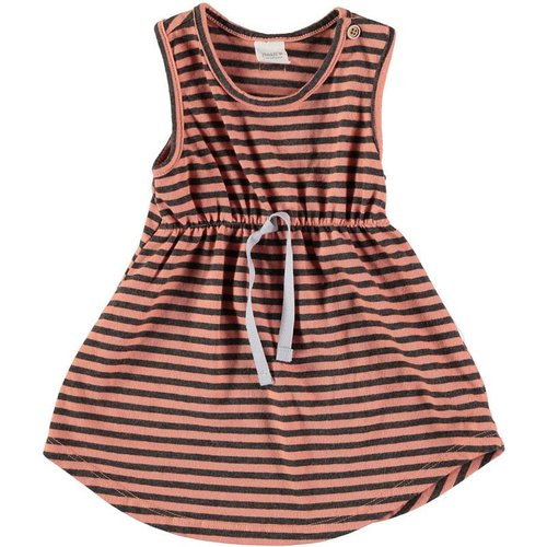 Bean's Barcelona Striped sleeveless cotton dress peach-grey