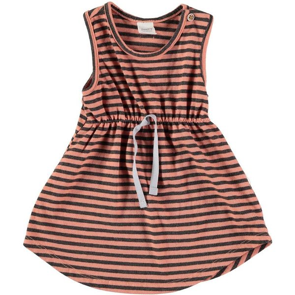 Striped sleeveless cotton dress peach-grey