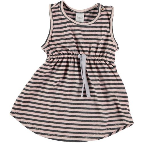 Bean's Barcelona Striped sleeveless cotton dress Pink-Grey