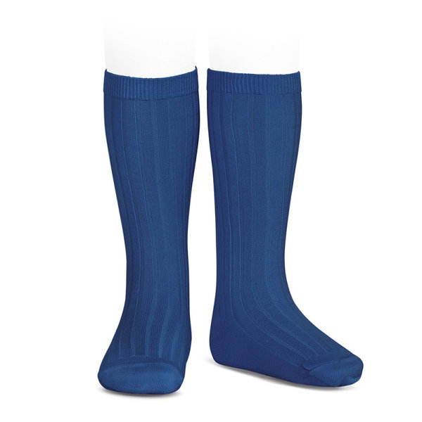 Rib Knee socks Indigo Blue