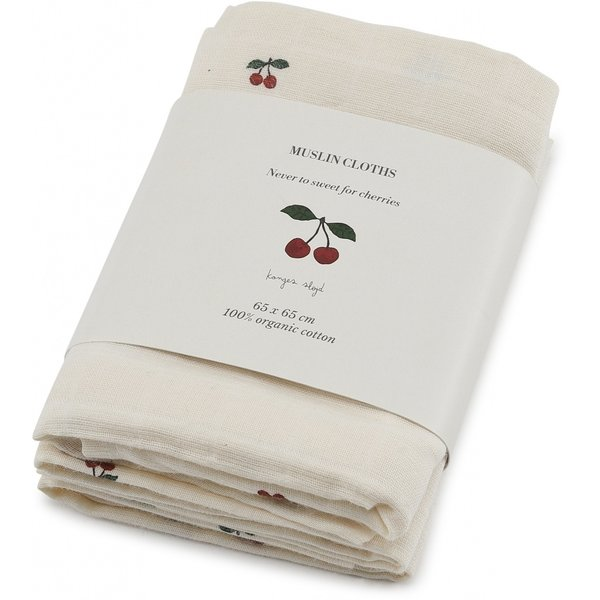 3-pack muslin clothes - Cherries