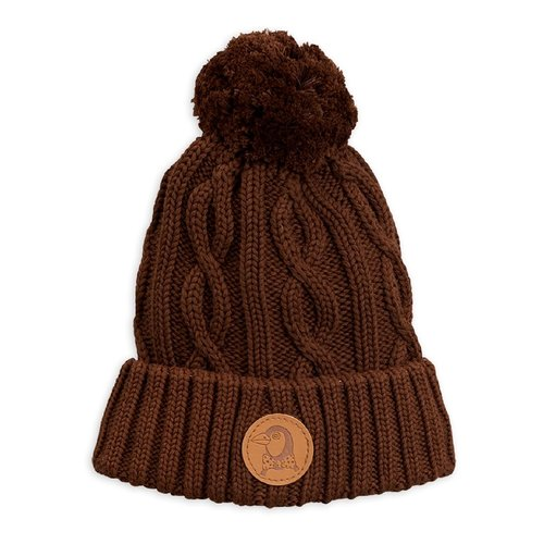 Mini Rodini Cable knitted pompom hat Brown - Limited Stock