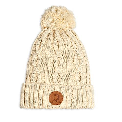 Mini Rodini Cable knitted pompom hat Offwhite - Limited Stock