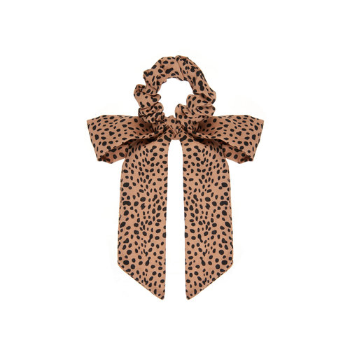 Mimi & Lula Leopard Scrunchie with Tails Brown