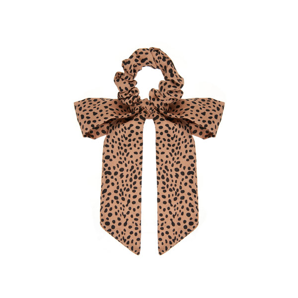 Leopard Scrunchie with Tails Brown