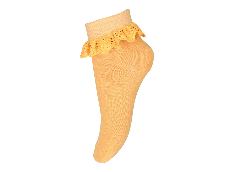 Filippa socks with lace - Ochre