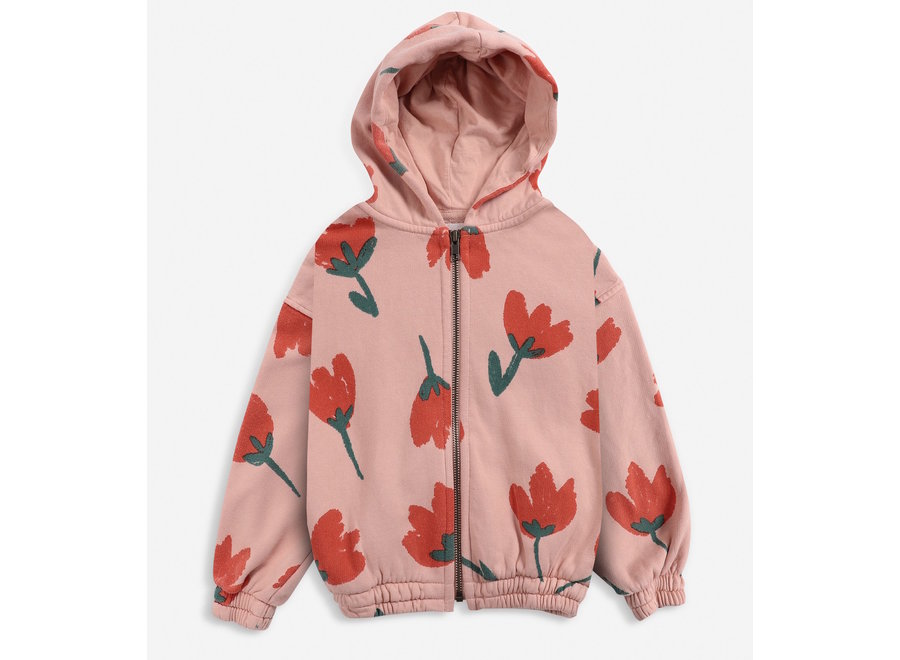 Big Flowers All Over zipped hoodie