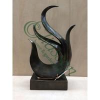 Bronzen beeld abstract figuur