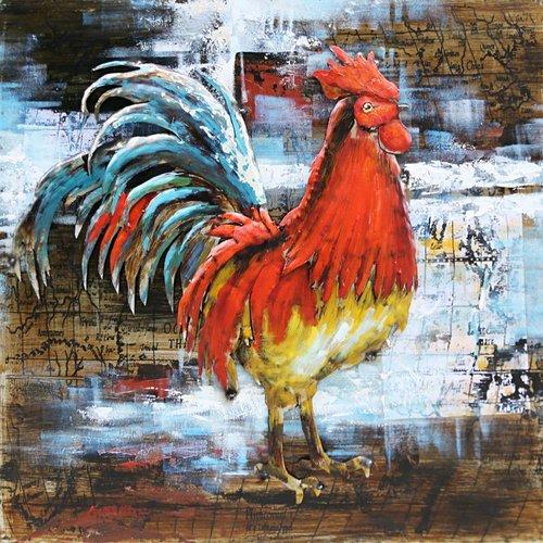 Eliassen Metaal schilderij  80x80cm Haan