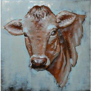 Eliassen Metaal schilderij  80x80cm Koe
