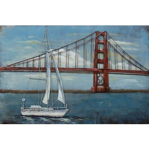 Eliassen Schilderij metaal 3d 80x120cm Boot voor brug