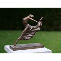Bronzen beeld Zittend Ballerina been achterwaards