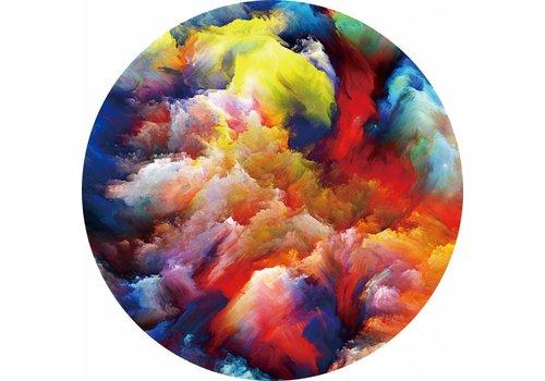 Glas schilderij rond Kleurrijk diameter 80cm