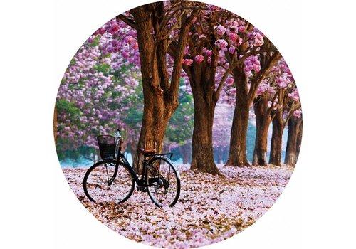 Glas schilderij rond Lente diameter 80cm