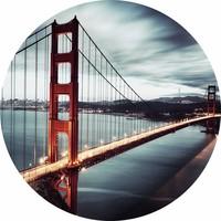 Glas schilderij rond Golden Gate dia 100cm
