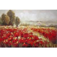 Olieverf schilderij Bloemenveld 160x84cm