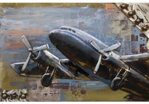 Schilderij metaal 3d 80x120cm Opstijgend vliegtuig