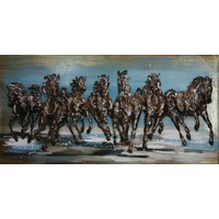 Metalen 3d schilderij Paarden rennend