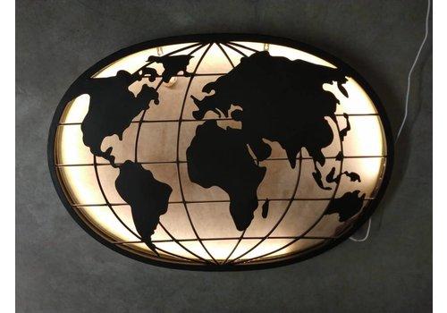 Wand decoratie Globe met Led verlichting