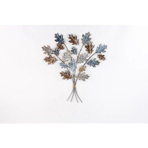 Eliassen 3D wanddecoratie Eikenbladeren metaal