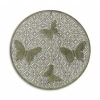 Muurdecoratie rond met 4 vlinders
