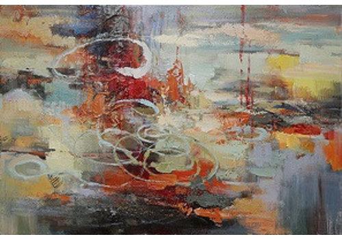 Olieverf groot schilderij Abstract 100x150cm