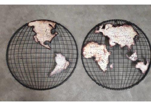 Wanddecoratie Globe 2-delig Bol