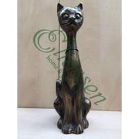 Bronzen beeld Kat lange nek