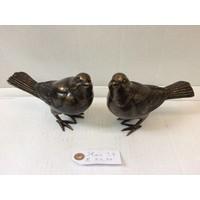 Bronzen set van 2 merels