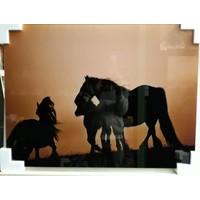 Glasschilderij Paarden 60x80cm