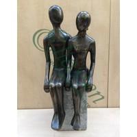Bronzen beeld zittend koppel XL