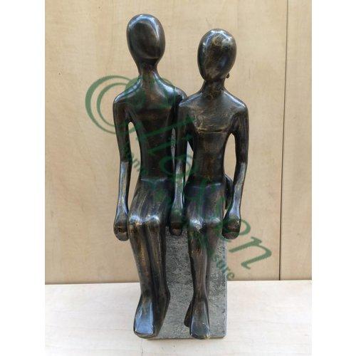Eliassen Bronzen beeld zittend koppel XL