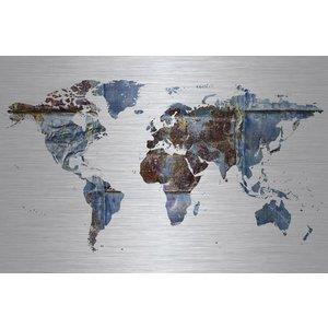 Dibond schilderij Wereldkaart 148x98cm