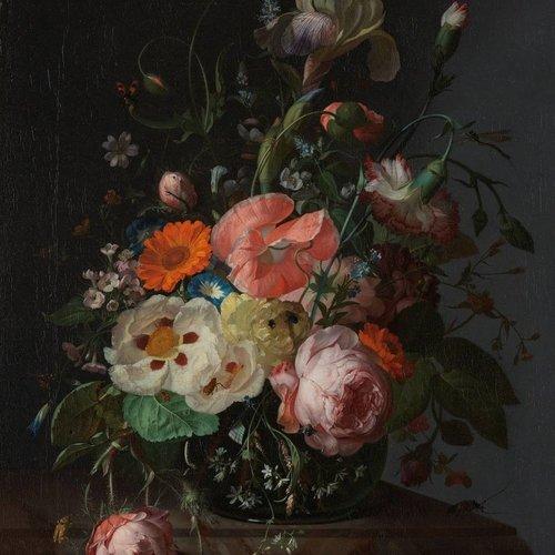 Dibond schilderij Stil leven marmeren tafel 74x74cm