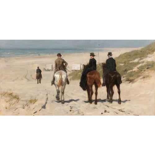 Dibond schilderij Morgen rit langs het strand 98x49cm
