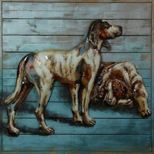 Schilderij ijzer-hout 2 Honden 80x80cm