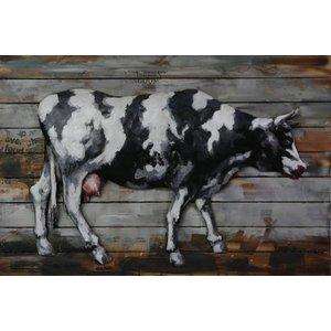 3D schilderij metaal-hout  Koe groot 80x120cm