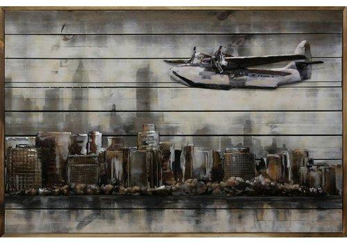 3d schilderij metaal-hout  Boven NY  80x120cm