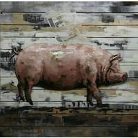 3d schilderij metaal-hout  Varken groot 80x80cm