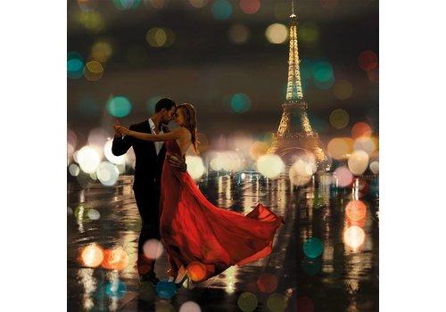 Glasschilderij 80x80cm Romance in Paris