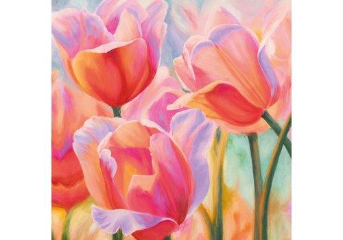 Schilderij glas 80x80cm Tulpen1