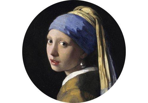 Glas schilderij rond Meisje met de parel dia 40cm