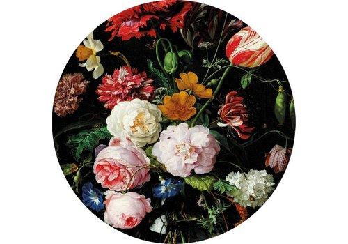 Glas schilderij Bloemen rond dia 60cm